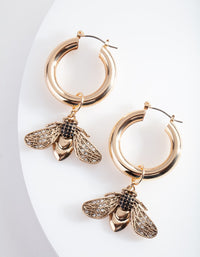 Gold Bee Charm Hoop Earring - link has visual effect only