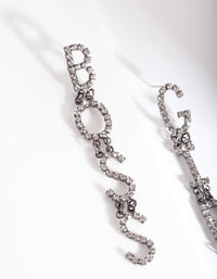 "Gunmetal ""Girl Boss"" Diamante Earring - link has visual effect only"