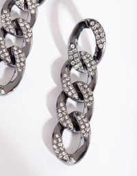 Gunmetal Diamante Link Earring - link has visual effect only