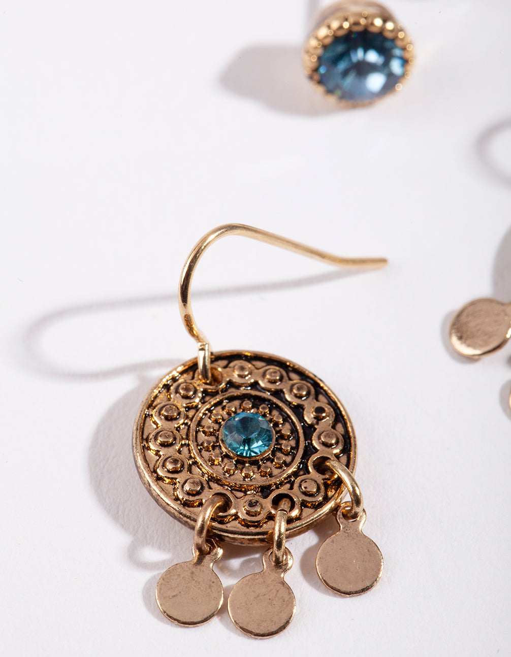 Antique Gold Leaf and Disk Earring 2 Pack