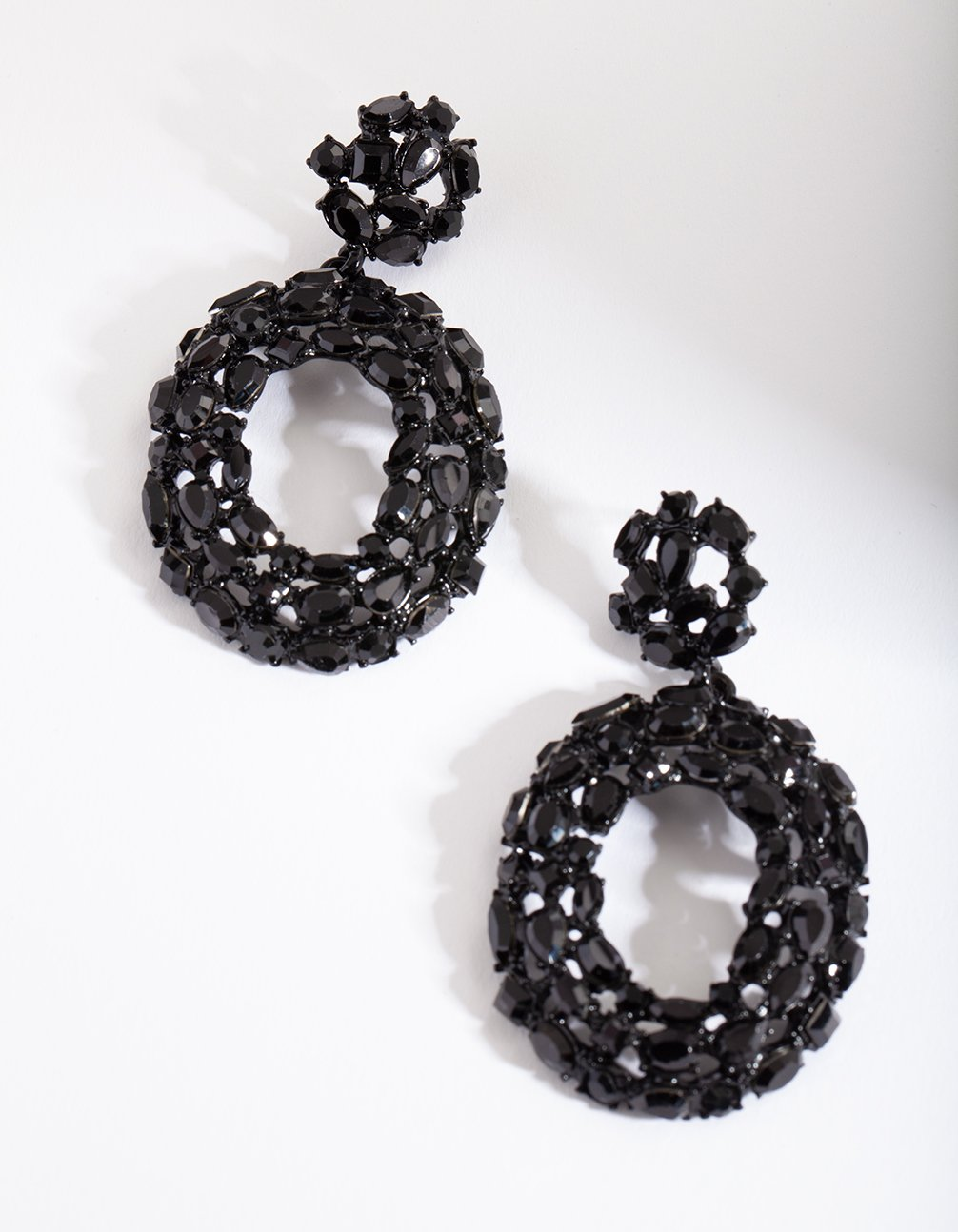 Black Gem Cluster Earring