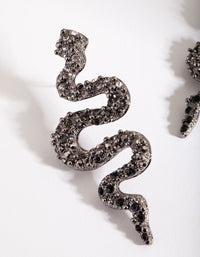 Gunmetal Diamante Snake Earring - link has visual effect only