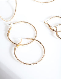 Gold Textured Hoop Earring 3 Pack - link has visual effect only