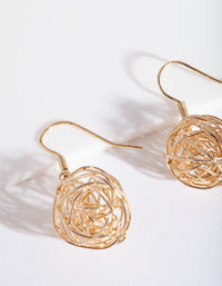 Gold Wire Wrap Ball Earring