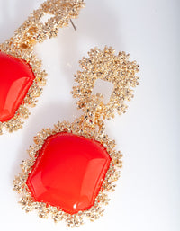 Gold Red Textured Dome Earring - link has visual effect only