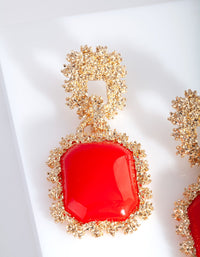 Gold Red Textured Dome Earring