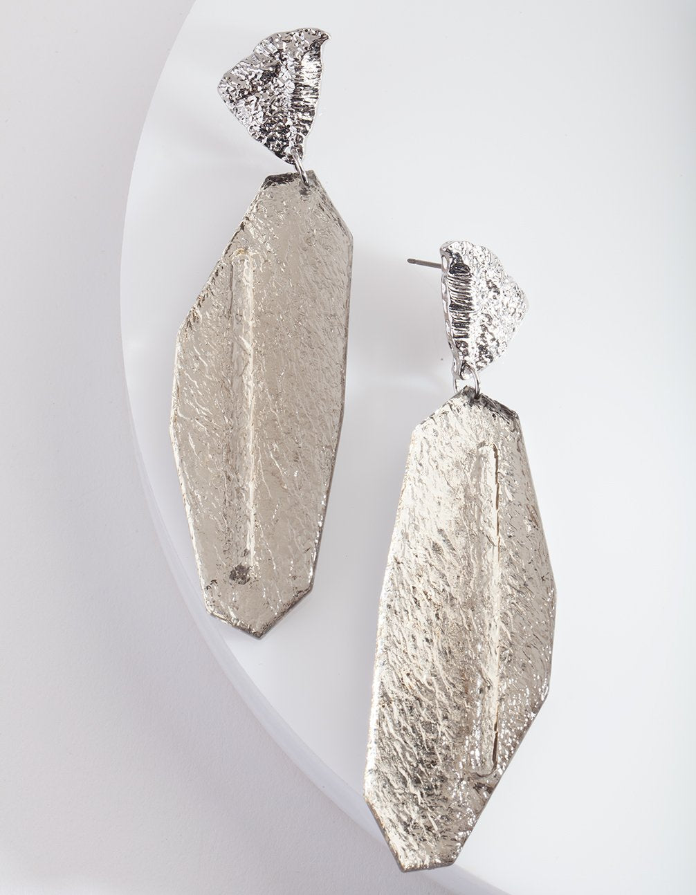 Silver Cracked Stone Earring
