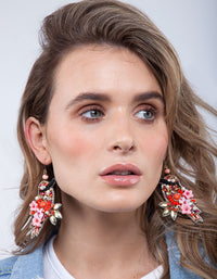 Pink Red Beaded Bird Earring - link has visual effect only