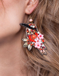 Pink Red Beaded Bird Earring
