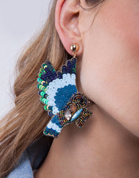 Blue Sequin Bead Bird Earring