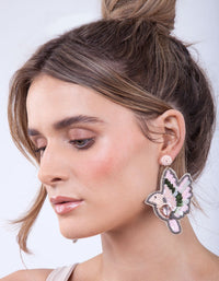 Pink Flying Dove Earring