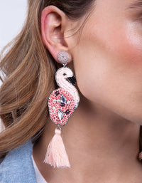 Pink Flamingo Tassel Earring - link has visual effect only