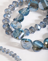 Blue Faceted Bead Bracelet Set - link has visual effect only