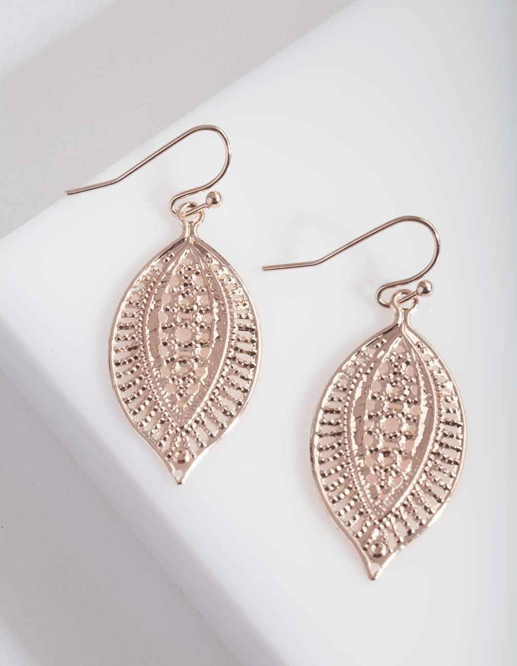 Rose Gold Filigree Leaf Earring