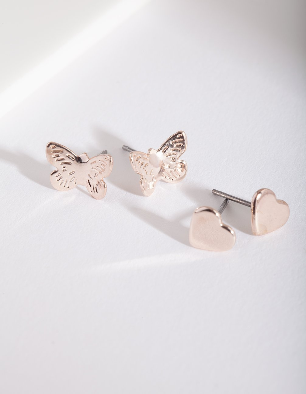 Rose Gold Butterfly Heart Earring