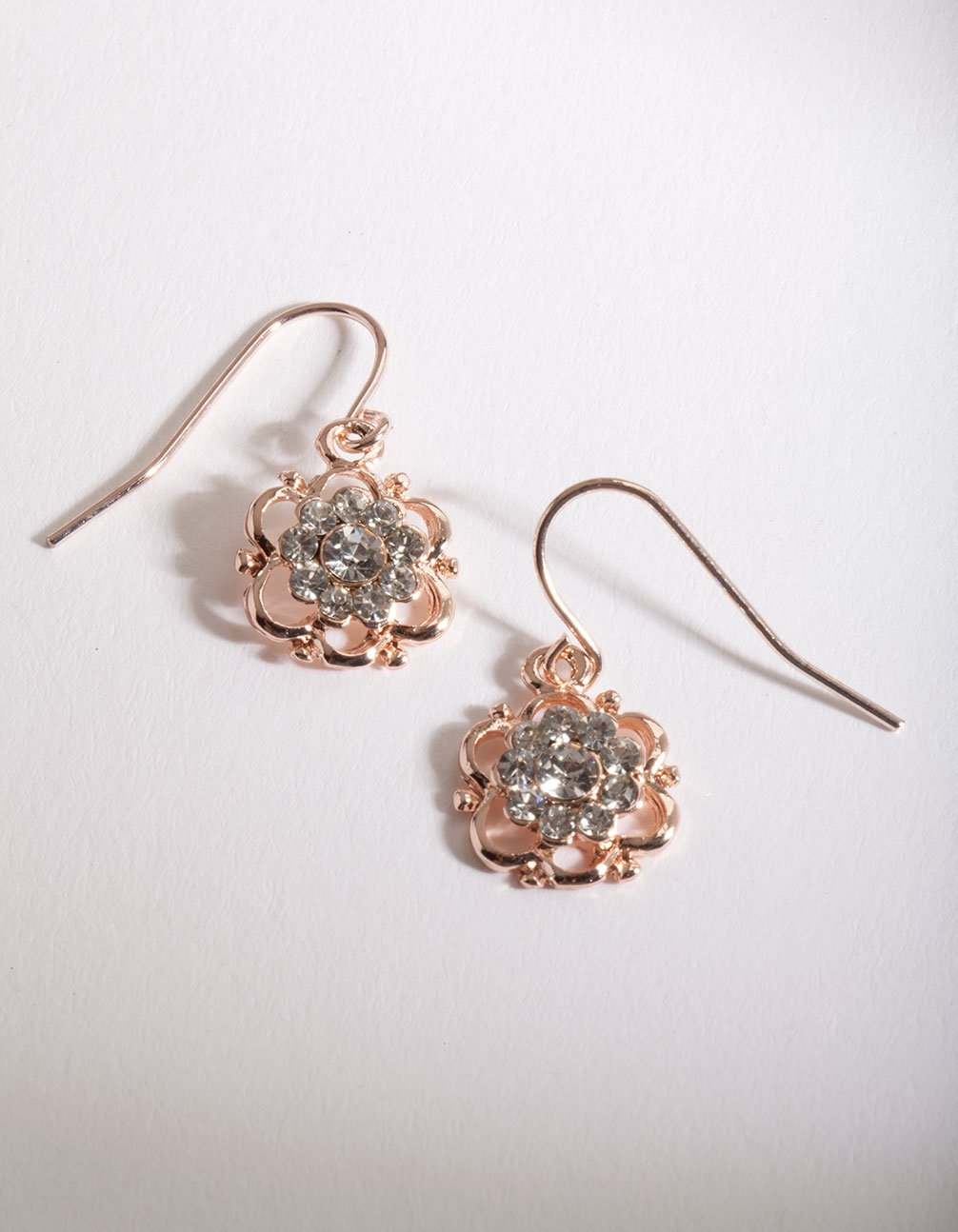 Rose Gold Flower Diamante Drop Earring