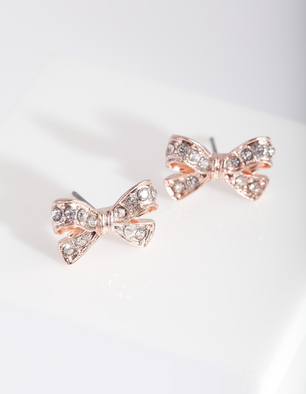 Rose Gold Diamante Bow Stud
