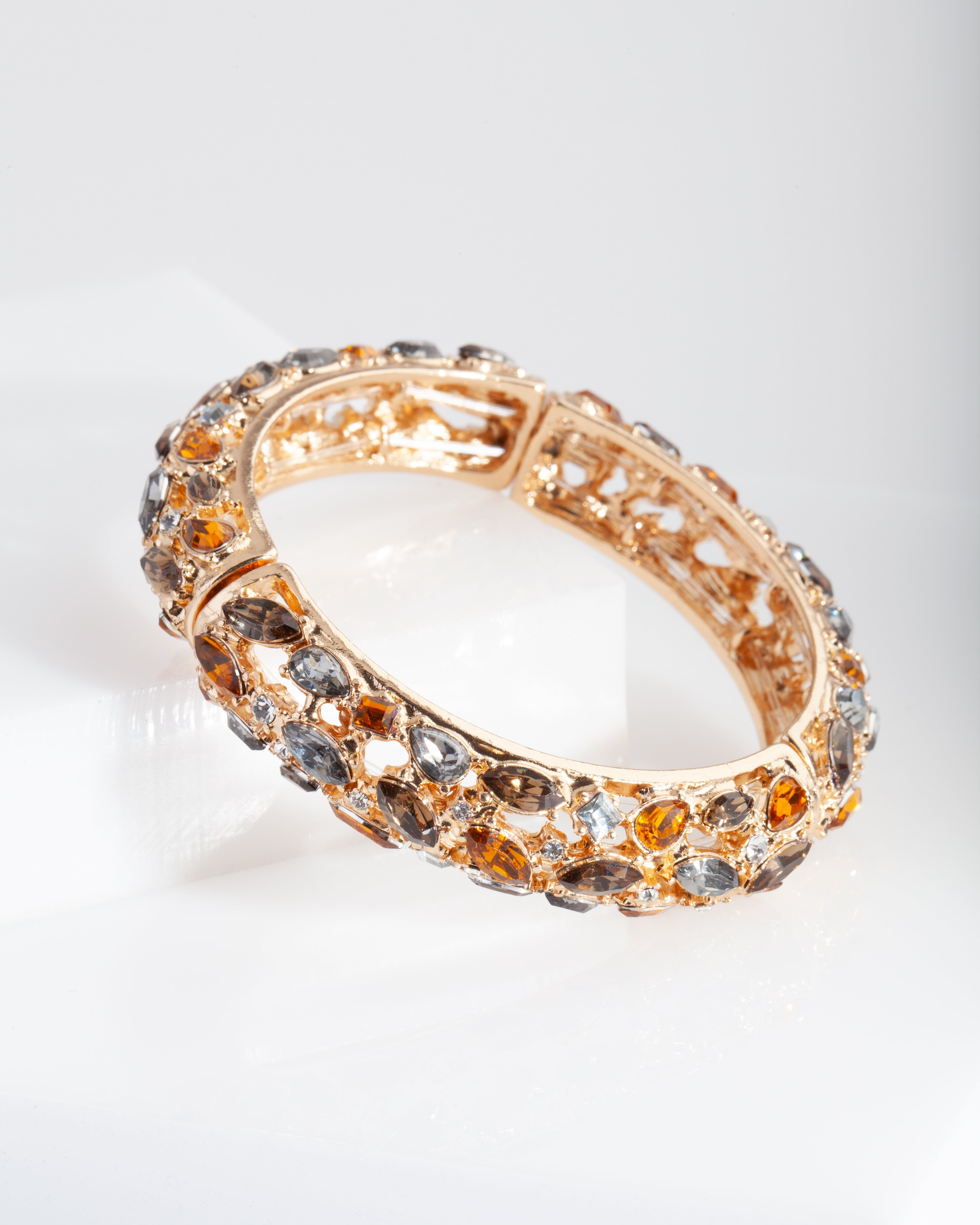 Gold Neutral Gem Bangle