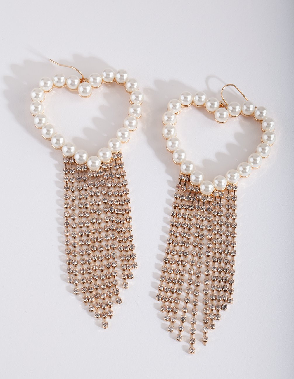 Gold Pearl Diamante Heart Earring