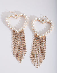 Gold Pearl Diamante Heart Earring - link has visual effect only