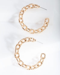 Gold Textured Chain Hoop Earring - link has visual effect only