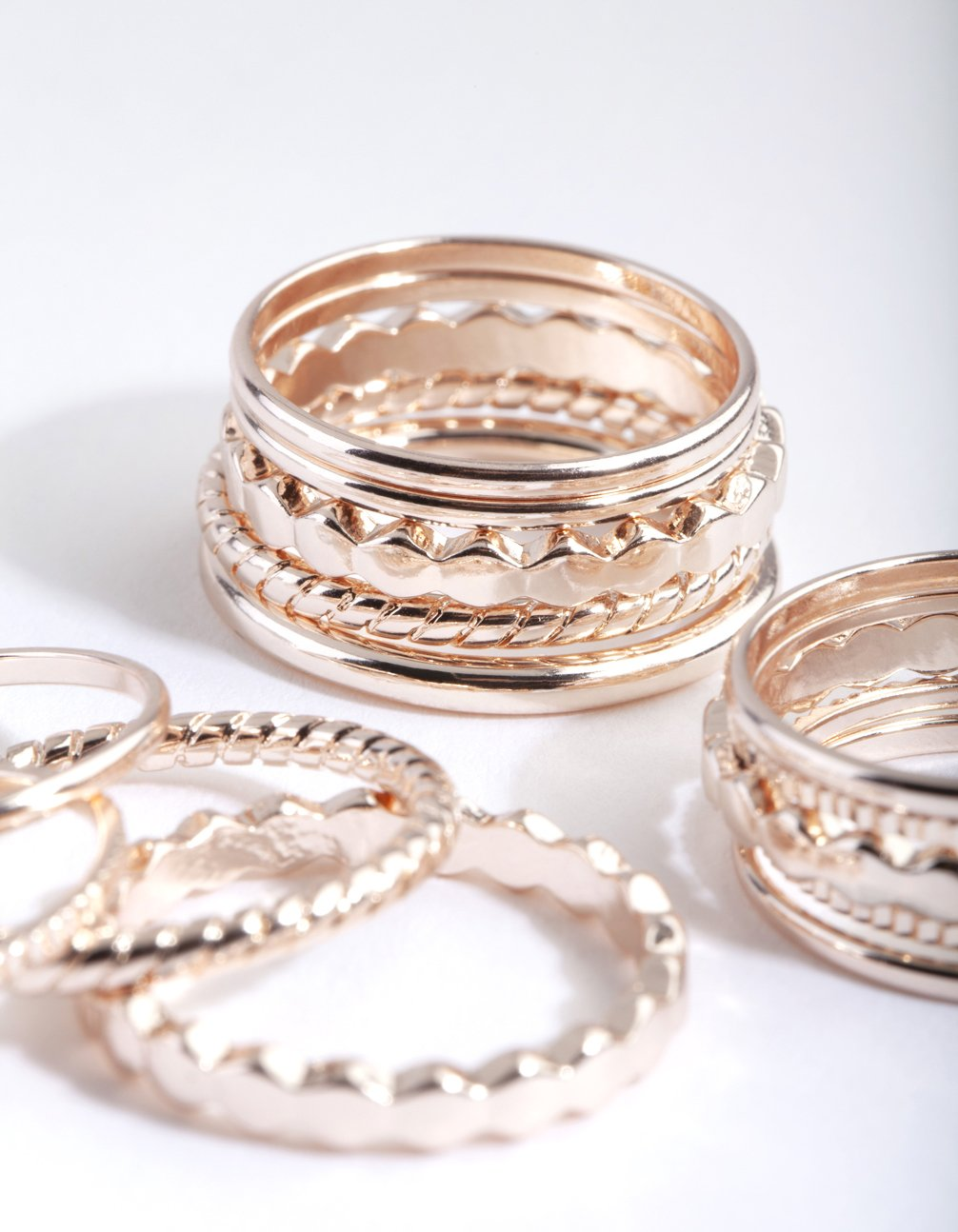 Rose Gold Textured Band Ring Pack