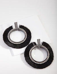 Gunmetal Diamante Tassel Earring - link has visual effect only