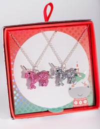 Kids Silver BFF Unicorn Necklace Set 2 Pack - link has visual effect only