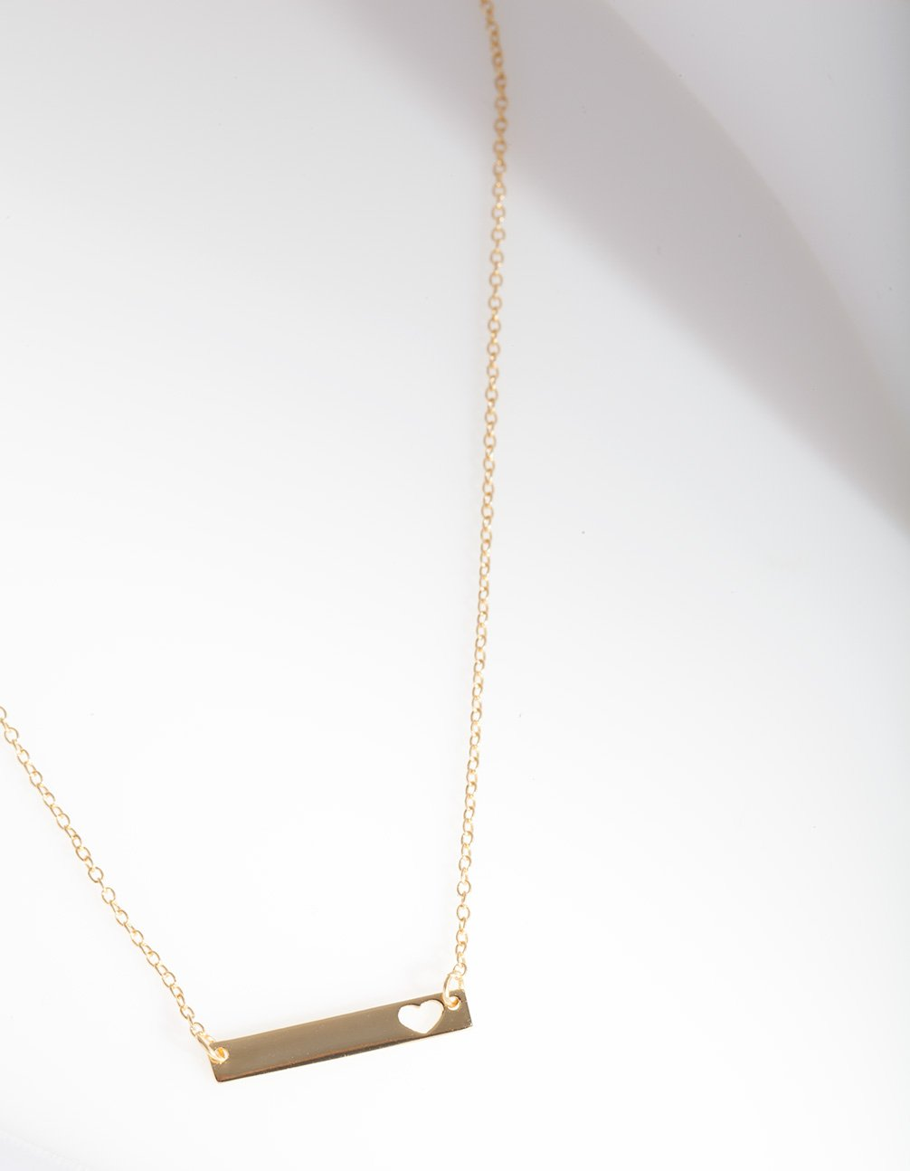 Sterling Silver Gold Plated Cutout Bar Necklace