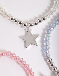 Kids Silver Star Multicoloured Beaded Bracelet 3 Pack - link has visual effect only