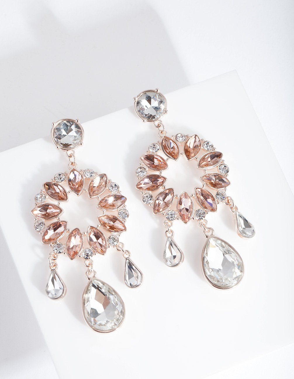 Rose Gold Multi Stone Round Drop Earring