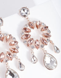 Rose Gold Multi Stone Round Drop Earring - link has visual effect only