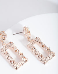 Rose Gold Mini Crater Rectangle Earring - link has visual effect only