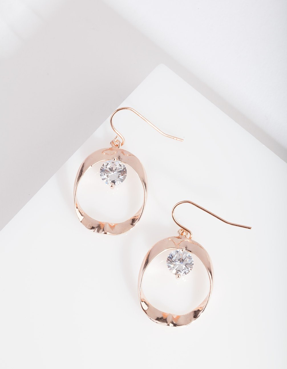 Rose Gold Cubic Zirconia Loop Drop Earring