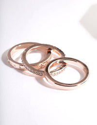 Rose Gold Diamante Star Ring Stack 3 Pack - link has visual effect only