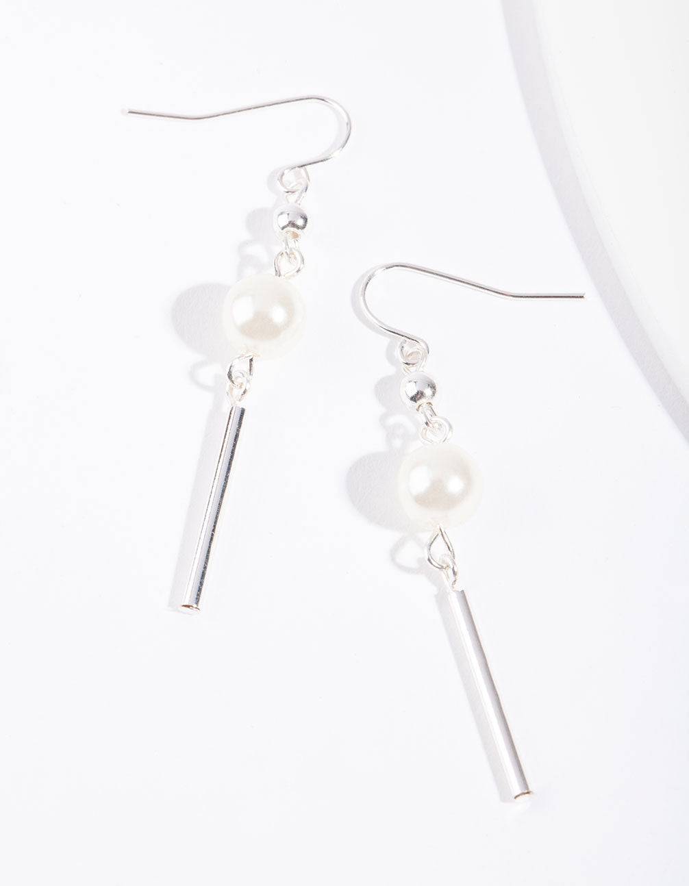 Silver Pearl Stick Drop Earring