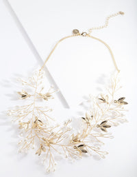 Gold Floral Pearl Wire Necklace - link has visual effect only
