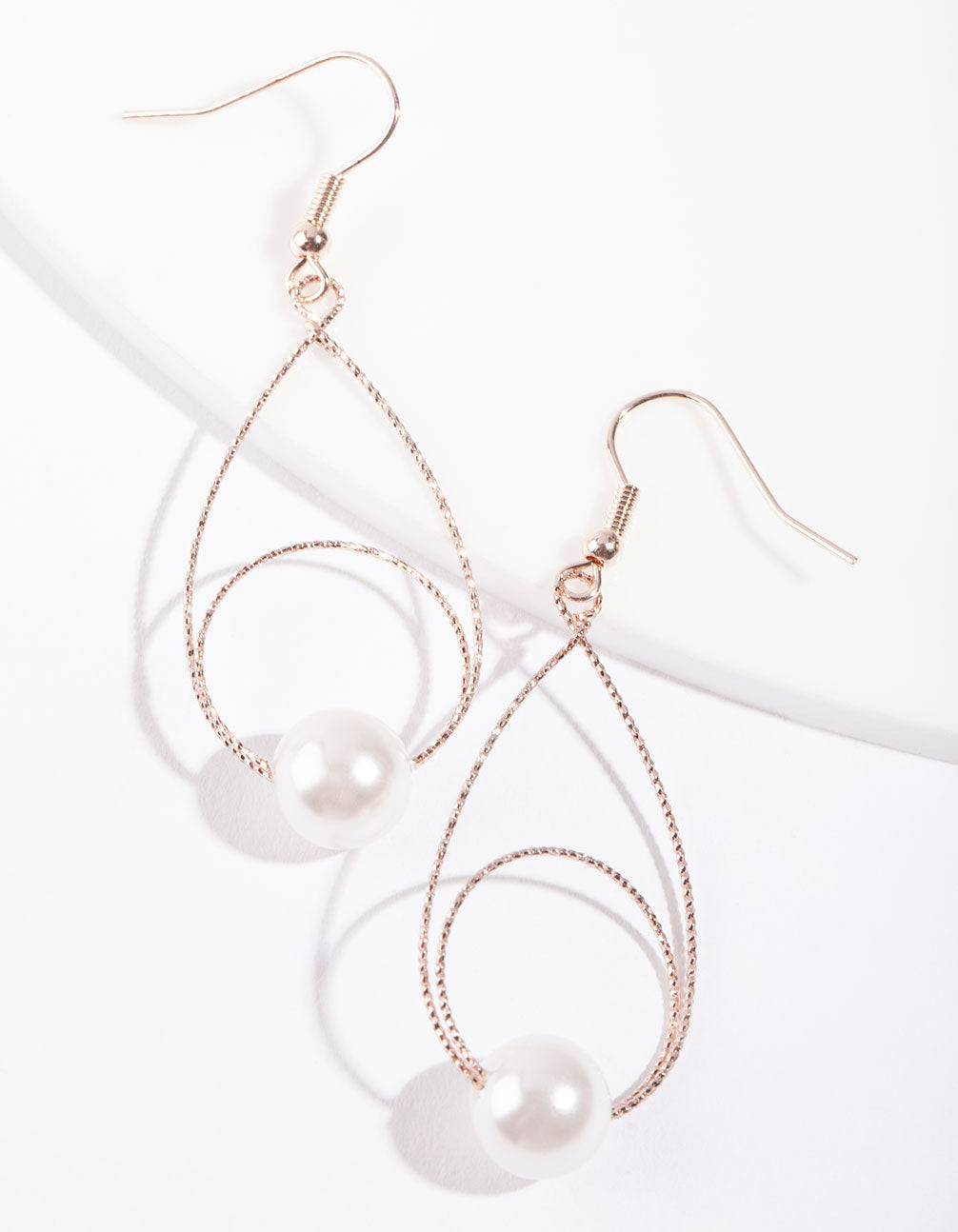 Rose Gold Teardrop Circle Earring