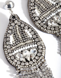 Rhodium Bohemian Bead & Diamante Earring - link has visual effect only