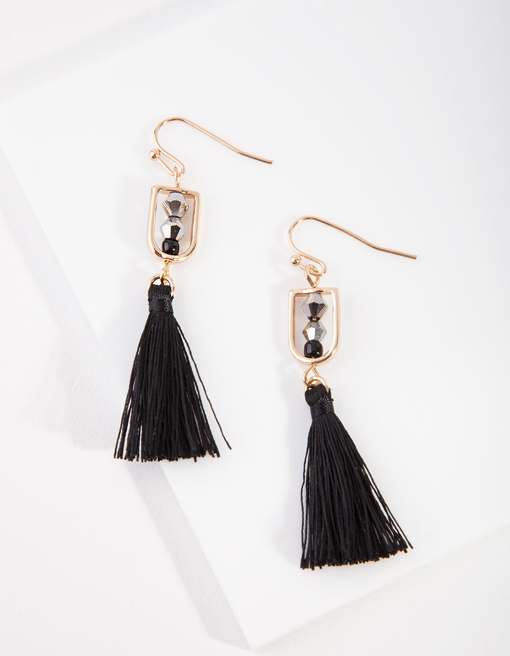 Gold Bead Tassel Drop Earring