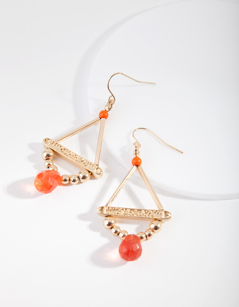 Shiny Gold Orange Beaded Drop Earring