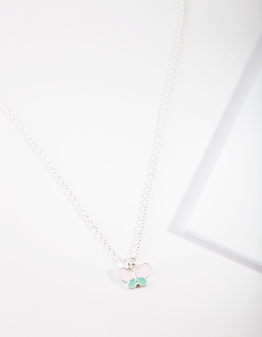 Kids Silver Butterfly Pearl Necklace
