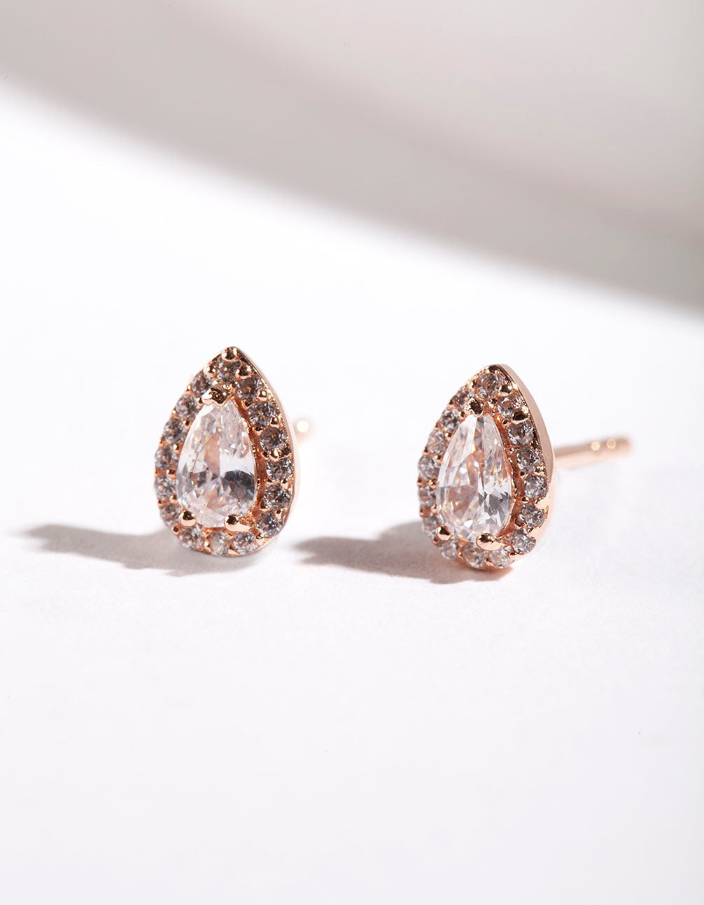 Rose Gold Plated Sterling Silver Cubic Zirconia Pear Halo Stud Earring