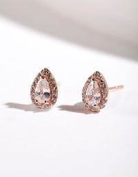 Rose Gold Plated Sterling Silver Cubic Zirconia Pear Halo Stud Earring - link has visual effect only