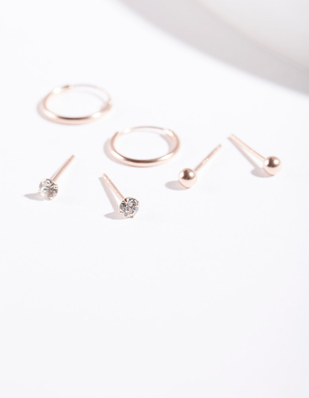 Rose Gold Plated Sterling Silver Diamante Ball and Hoop Earring 3 Pack