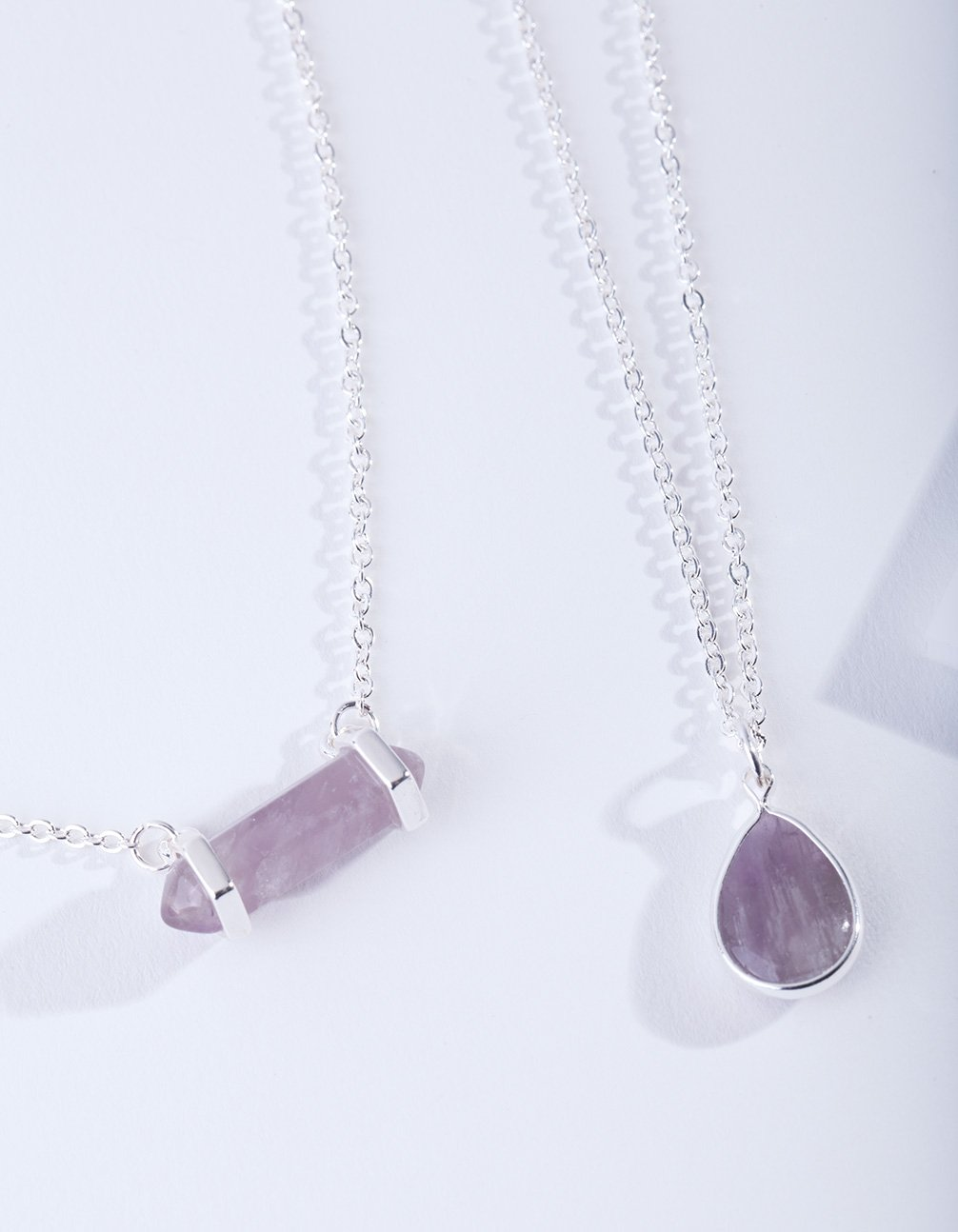 Silver Double Layered Shard Necklace