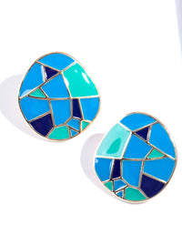 Shiny Gold Geo Pattern Round Stud Earring - link has visual effect only
