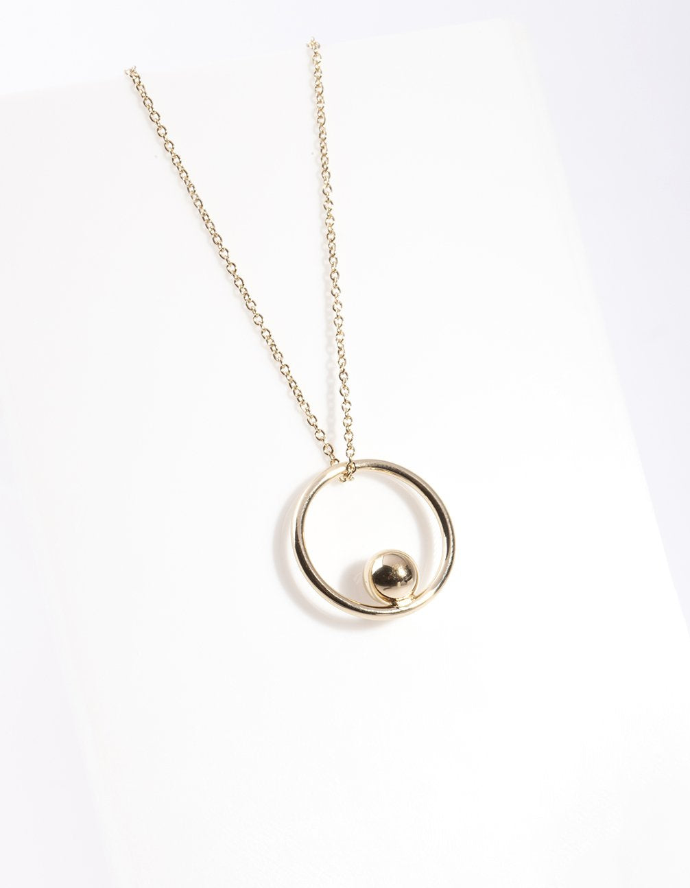 Gold Plated Sterling Silver Open Circle Ball Necklace