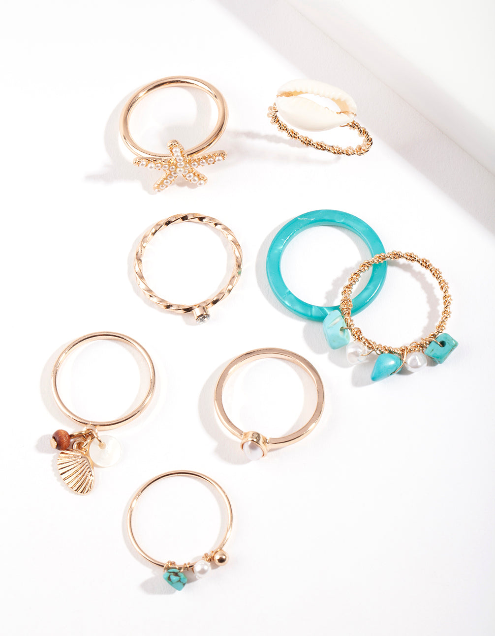 Gold Turquoise Sea Ring Pack