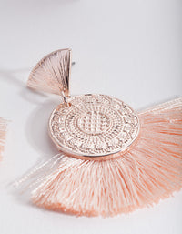 Pink Fabric Fan Earring - link has visual effect only